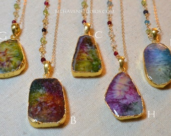 Radiant rainbow agate gemstones with 24k gold plated edging 14k goldfil beaded necklace Druzy Agate necklace Gemstones Layering trendy