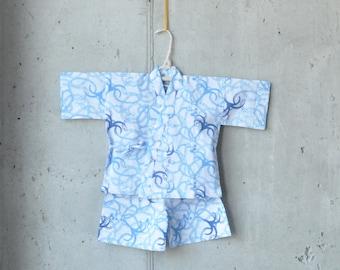 BABY KIDS KIMONO jinbei || Japanese casual kimono || blue anchor || summer resort shirt + pants || hand-dyed cotton