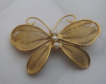 Vintage 1970's Goldtone Filigree Butterfly with Imitation Pearls by KREMENTZ