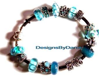 Turquoise European Charm Bracelet Glass Beads Pugster Rhinestones Heart Clasps White Wrist Band Jewelry