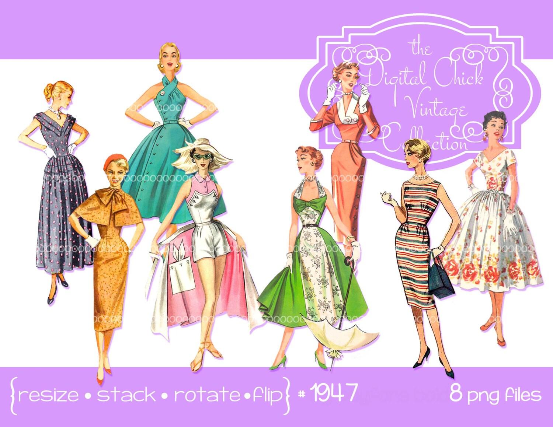 Digital Clipart Instant Download Vintage Women Clip