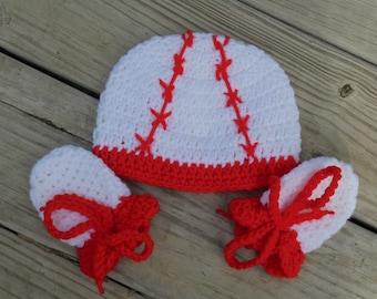 Infant Baseball Hat, Crochet Baseball Hat, Infant Baseball Set, Crochet Baseball hat and mittens, Crochet Baseball Photo Prop