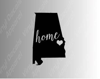Alabama home state die cut vinyl decal sticker for cars, laptops, yeti decals, etc.