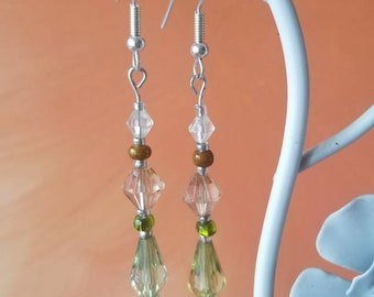 yellow beaded earring with wood beads
