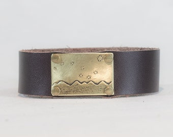 "Big Dipper Leather Cuff Bracelet-  3/4"" leather cuff. Matte brass or sterling over brass . For guys and gals"