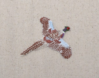 Ring-necked Pheasant - Bird - Flying - Iron on Applique - Embroidered Patch - 696991-A