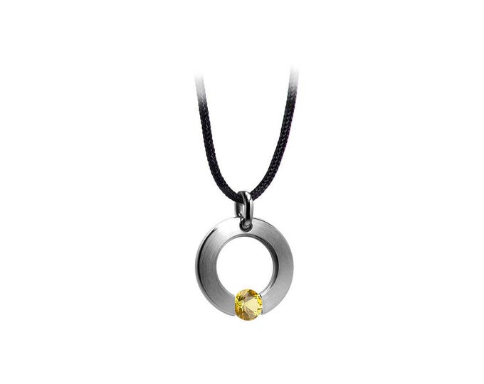 Yellow Sapphire Tension Set Pendant in Stainless Steel