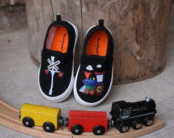 HAND PAINTED TRAIN Shoes, Christmas train shoes, Train Outfit, Baby/Toddler and Child/Youth Sizes