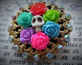 Day of the Dead SKULLS and ROSES BROOCH. Upcycled vintage.