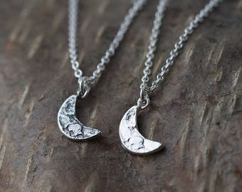 Silver Crescent Moon Necklace Handmade, Sterling Silver Necklaces for Women, Gift for Women Silver Jewelry, Womens Jewelry Gift by Burnish
