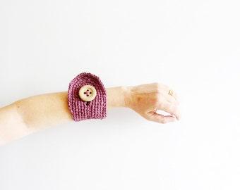 Mauve Crochet  Bracelet   Cuff Wristlet Textile Jewelry