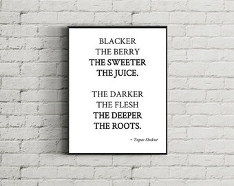 Tupac lyrics, Blacker the Berry, The Sweeter the Juice Print, Tupac Print, 2pac Poster, Rap Poster, Rap Lyrics, Tupac Poster, Tupac Wall Art