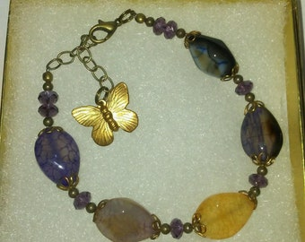 Jasper Gemstone Bracelet with Amethyst and Butterfly Drop extends to 8 Inches