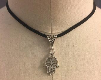 Silver Hamsa Choker Necklace
