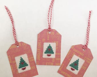 Handmade Christmas Tree Cross Stitched Gift Tags (Set of 4)