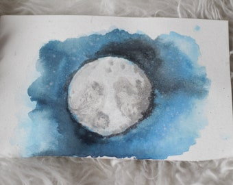 Moon Watercolor Painting, Watercolor Painting on Watercolor Paper, Gift Ideas, Home Decor