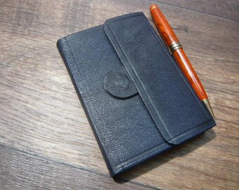 Pocket-sized Leather Journal, Magnitic Closure, Navy Blue Morocco.