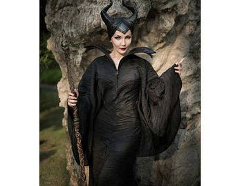 Movie Maleficent dress,horns and pikestaff handmade fantasy cosplay costume