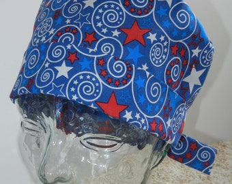 Tie Back Surgical Scrub Hat with Patriotic Stars and Swirls