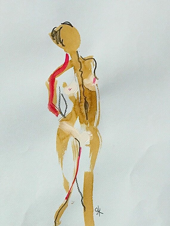 Nude painting of One minute pose 106.4 - Original nude painting by Gretchen Kelly