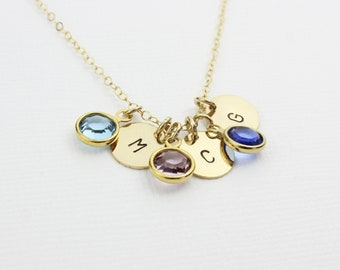 Crystal Birthstone Gold Filled Disc Necklace, Personalized 14K Gold Filled Disc, Initial Charm Graduation Gift, Gift for Mother and Sisters