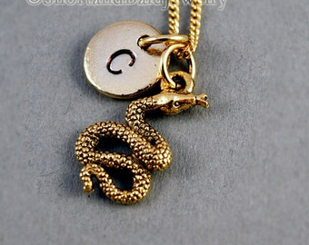 Snake necklace, antique gold, initial necklace, initial hand stamped, personalized, monogram