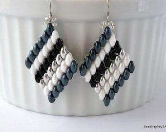 Diamond Shape Drop Earrings, Geometric Beaded Earrings, Beadwork Dangle Earrings, Boho Seed Bead, Superduo, Gift for Her