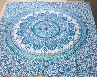 Large Queen Size  Mandala Wall Hanging / Bed Cover/ Indian Tapestry, Mandala Bed cover In Traditional colors,Hand   Bed Spread.Q#1