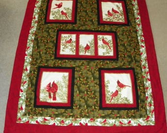 Cardinals Homemade Large Lap Quilt