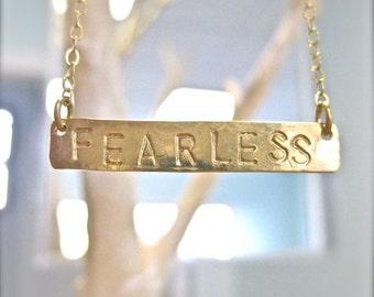 FEARLESS Necklace - Long Gold Horizontal Bar