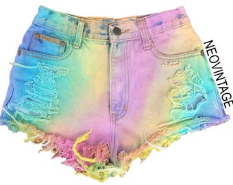 Pastel Rainbow High Waisted Colorful Tie Dyed Hipster Festival Fringed Denim Shorts