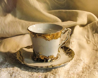 Vintage Espresso Mocha cup saucer porcelain Mug gold
