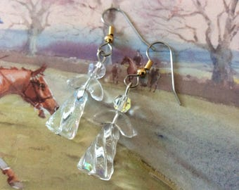 Holiday earrings, Crystal and glass Angels