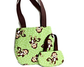 18 Inch Doll Purse, Girl Purse, Matching Doll and Girl Purses, Green Monkey Purses, Doll and Girl Purses
