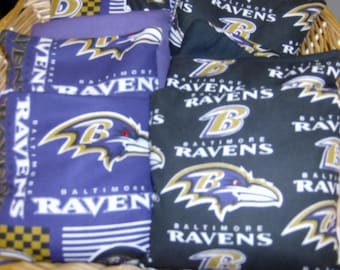Our 8 PC Set of Double Baltimore Ravens Corn Hole Game Bags