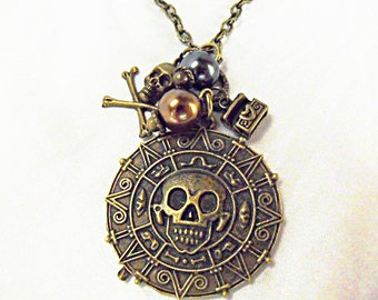 Bronze Pendant Necklace,  Pirates of the Caribbean Coin Medallion Skull Aztec With Pearl And charms  Womens Gift  Handmade