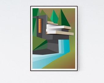 Fallingwater - Architecture Illustration of Frank Lloyd Wright House - art print poster