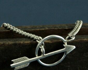 Artemis Bracelet - Sterling Silver Arrow Bracelet - Handmade Toggle Clasp - Hunger Games Inspired Bracelet - High Fashion Modern Art Jewelry