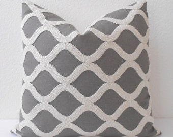 Gray and cream tufted trellis decorative pillow cover