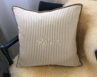 ticking striped cotton canvas pillow, Relax