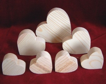 7 Chunky Hearts, Unfinished Pine Cutouts
