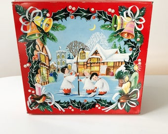 Vintage 1961 Huntley & Palmers Choir Boys Christmas Biscuit Tin