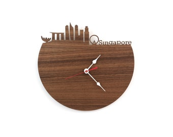 Walnut Singapore Wall Clock - Modern Skyline Clock - Singapore Skyline - Gift for Him