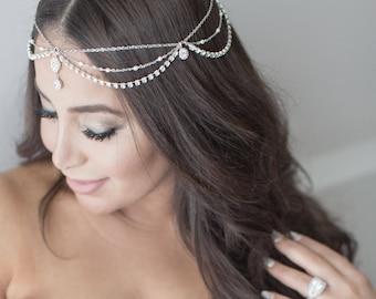 Bridal Head Chain, Bridal Headpiece, Boho Bridal Headchain, Boho Head Piece