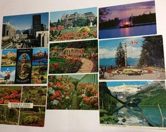9 British Columbia Canada Vintage Postcards Victoria Vancouver Empress Hotel Butchart Gardens