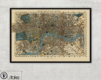 London map - Large Historic London England - map of London - Old map of London - Antique London - Wall Map print - old maps and prints, 069