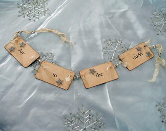 Joy to the World flash card ornament\/garland (cream ribbon)