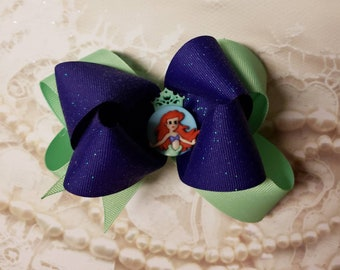 "5"" double stack little mermaid bow"