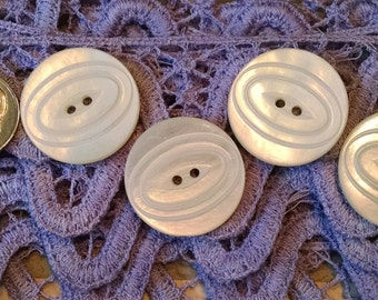 SALE * Set of 4 Vintage Mother of Pearl Carved Decorative Buttons  * Shell * MOP * Repurpose * Upcycle