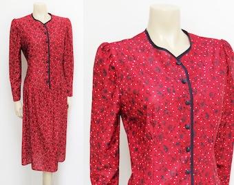 Vintage Dress, 12, Red Dress, Vintage Clothing, Dresses, Evening Dress, Christmas Dress, Boho Clothing, Pretty Dresses, Floral Dress, 80s